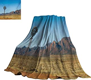 RenteriaDecor Windmill,Personalized Blankets Flinders Ranges South Australia Mountains Barren Land Summer Throws for Couch Bed Living Room 80