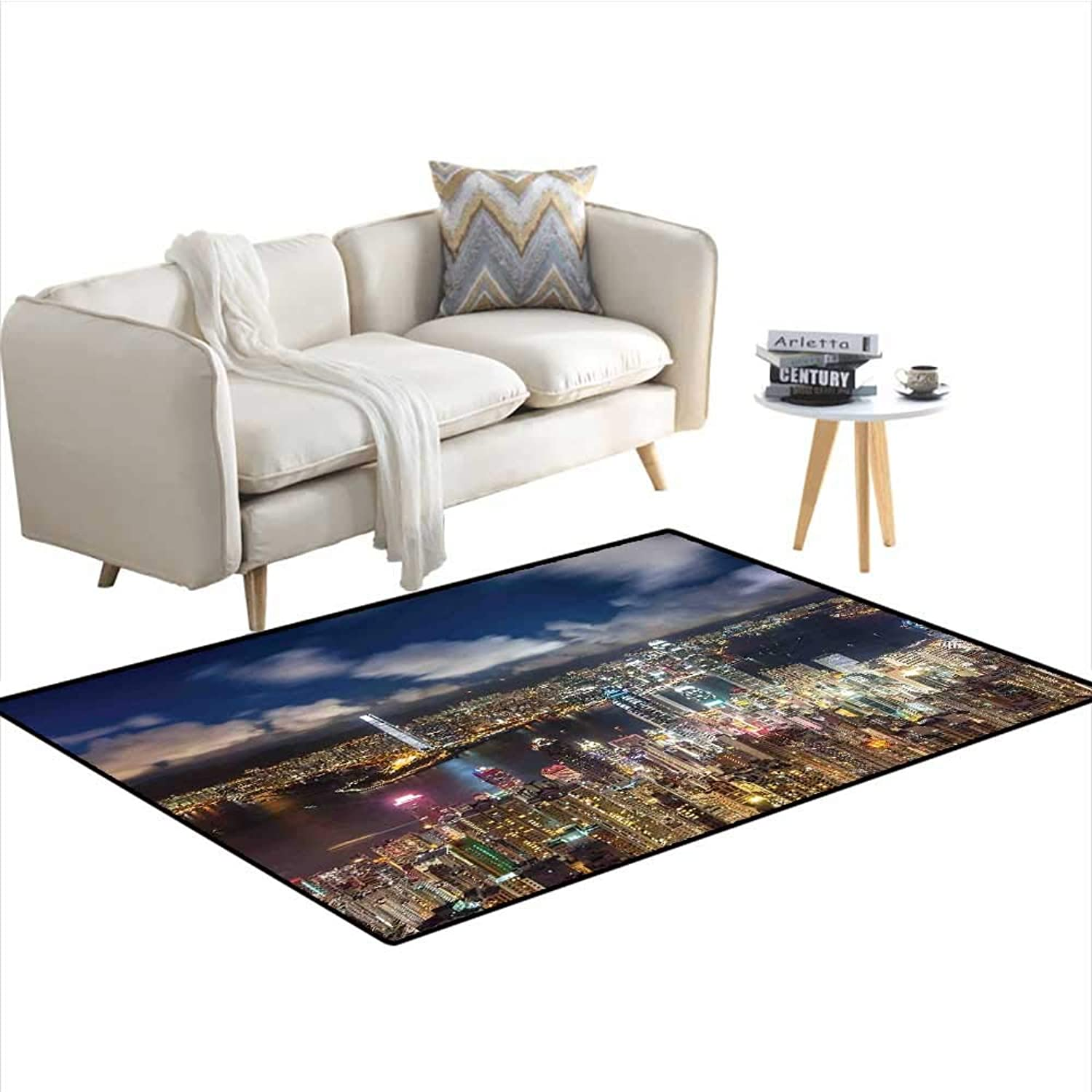 CityscapeRectangle carpetNight View Hong Kong Victoria Harbor Business Financial District Cityscape Print Bedroom RugNavy White W56 x L63