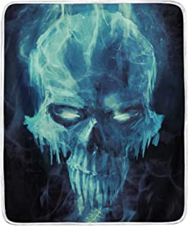 Vipsk Throw Blanket Super Soft Blanket Warm Polyester Microfiber Bed Blanket Lightweight Cozy Sofa Bed/Couch Throw for Beds Office Lap Couch Plush 50x60 Inch (Cool Blue Cloud Skull)