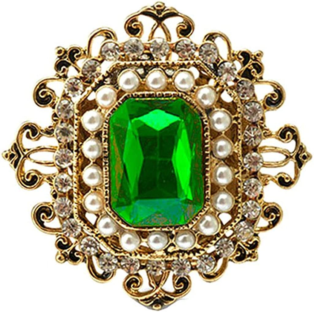 LoveinDIY Vintage Victorian Crystal Emerald Ruby Brooch Pin Lady Accessory Gift 3 Colors