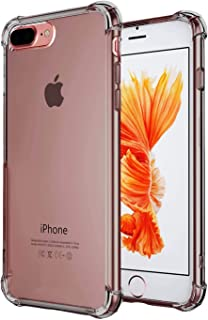 CaseHQ iPhone 7 Plus Case, iPhone 8 Plus Case,Crystal Clear Shock Absorption Bumper Slim Fit,Heavy Duty Protection TPU Cover Case for Apple iPhone 7 Plus (2016)/iPhone 8 Plus (2017) -ClearBlack