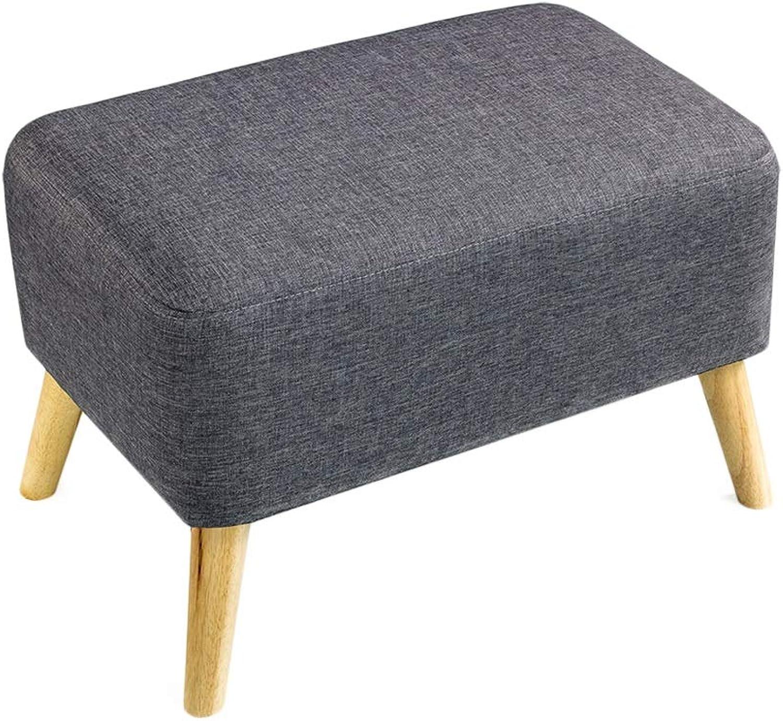 F-GD Footstool Non-Slip Sponge Solid Wood Linen High Elasticity,7 colors, 3 Sizes (color   Black, Size   60x40x40cm)