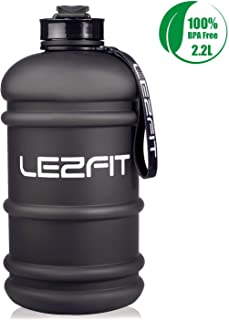 LEZFIT Water Jug 2.2L Big Water Bottle Large Capacity BPA Free Leakproof Half Gallon Sport Water Bottle for Gym Fitness Athletic Bicycle Camping.