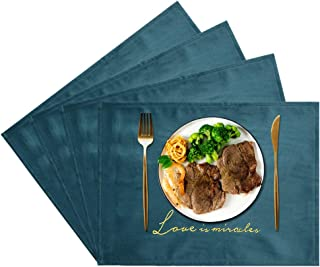 JTX Placemats Set of 4 for Dining Table Place Mats Heat Resistant Velvet Place Mats Non-Slip Washable Table Mats Protect The Table from Messes (Blue)