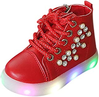 Voberry Girls Pearl Crystal Led Light Lace Up Sneaker Boots Side Zipper Leather Luminous Shoes