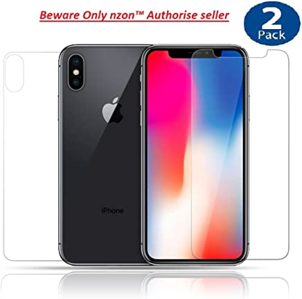 nzon™ Tempered Glass For iphone X Front And Back - Clear - Pack Of 2 (Front & Back Clear)