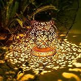 Retro Solarlaterne für Außen Hängend, JOYCREATOR Metall Solarlampen für Außen Garten mit IP65 Wasserdicht, Solar Laterne Aussen für Terrasse, Balkon, Garten Deko