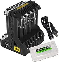 NITECORE i8 Eight Bays Smart Battery Charger for Li-ion/IMR/Ni-MH/Ni-Cd 26650 22650 18650 18490 18350 16340 RCR123 14500 AA AAA AAAA C D USB with EdisonBright BBX3 Battery Carry case