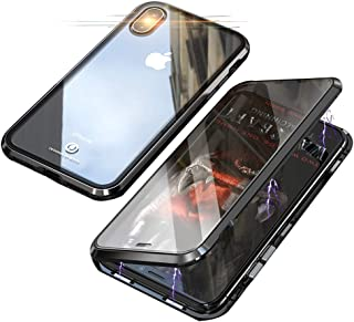 Compatible with iPhone Xs/X (5.8 inch) Case, Jonwelsy 360 Degree Front and Back Transparent Tempered Glass Cover, Strong Magnetic Adsorption Technology Metal Bumper (Black)