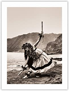 Pua with Sticks (Kala'au) - Hawaiian Hula Dancer - Vintage Sepia Toned Photograph by Alan Houghton c.1960s - 100% Pure Carbon Archival Inks - 290gsm Bamboo Paper Fine Art Print 18x24in