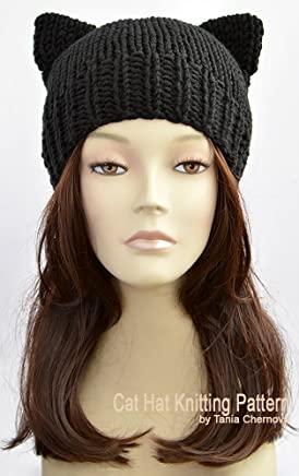 0b162181709 Knit Cat Hat Pattern Cat Ear Beanie Cat Ear Hat Cat Beanie Cat Ears Womens  Hats