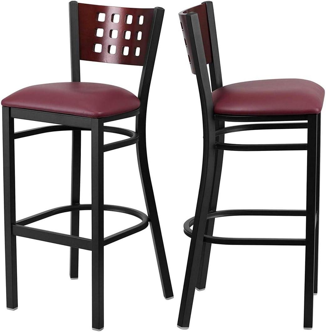 Set of service 2 Commercial Dining Bar Wood Back Max 46% OFF Ba Stools Cutout Design