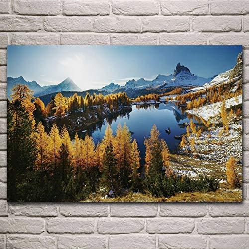 Bytfaa Natura Paesaggio Montagne Foresta Dolomiti Blu Acqua Soggiorno Decorazione Home Art Decor Poster 40x60cm