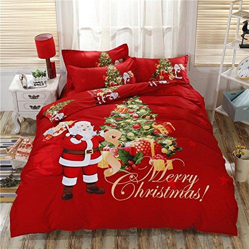RENXR 3D Christmas Duvet Quilt Cover Set- Xmas Theme Linen Cotton Feeling Duvet Covers Bed Linen for Children/Kid/Adult Single Double Queen King Size,Red,220 * 240cm
