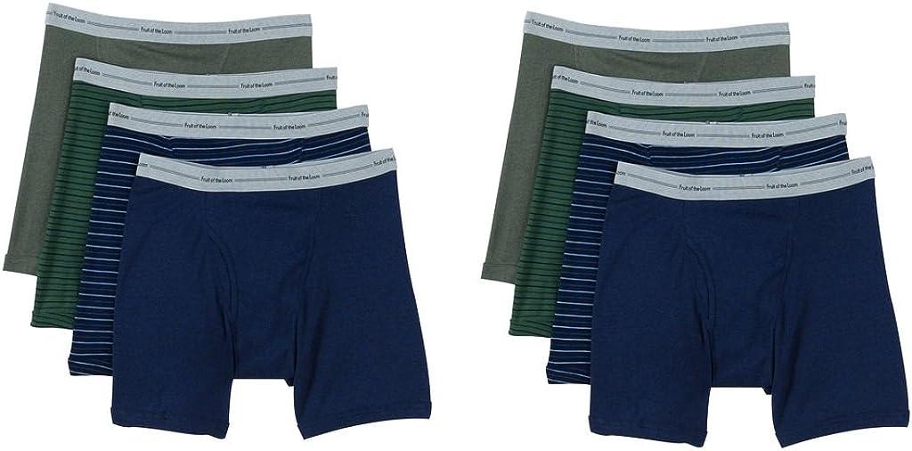 Fruit of the Loom Men's 8Pack Stripes Solids Boxer Briefs Cotton Underwear 2XL