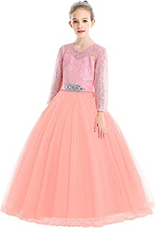 Flower Girls Maxi Lace Dress Long Sleeve Wedding Pageant Party Princess Communion Floral Boho Vintage Dance Gown