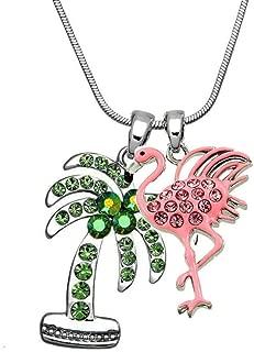 DianaL Boutique Pink Flamingo Palm Tree Pendant Necklace Rhinestone Crystal Enamel Gift Boxed