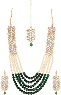 Efulgenz Indian Jewelry Bollywood Faux Pearl Crystal Necklace Maang Tikka Earrings Head Chain Jewelry Set for Women Girls