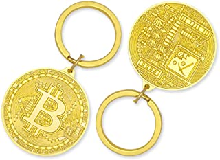 Bitcoin Gold Plated Keychain BTC - Bitcoin Token, Crypto Gift Set Collectors, Metal Key Ring with Bitcoin Pendant, Crypto ...