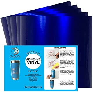 Craftables Blue Metallic Craft Vinyl for Cricut and Silhouette, Cameo - Chrome Polish Finish Vinyl - (5) 12