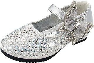 5070ba6832a0a SITAILE Enfant Sandales pour Fille Chaussures de Ceremonie Princesse Ballerine  Paillettes Noeud avec Diamants pour Mariage