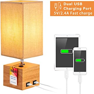 N&C USB Bedside Table Lamp, Brown Square Fabric Shade Oak Wood Nightstand Lamp with 2 USB Fast Charging Ports, Push Button Switch Simple Desk Lamp, Ideal for Bedroom/Living Room/Guest Room/Kids Room