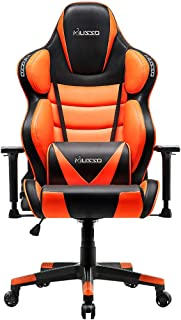Musso Big & Tall (Orange) Gaming Chair Adults Racing Computer Gamer Chair with Fully Foam, Esports Video Game Chair, PU Leather Executive Office Chair with Lumbar Support