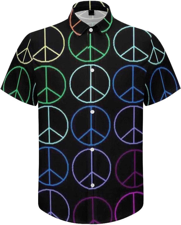 Hawaiian Shirts for Men Colorful Peace Sign Printed Beach Shirt Hawaiian Shirts