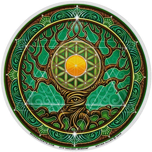 Ancient Wisdom Tree and Flower of Life - Window Sticker / Decal (4.5' X 4.5')