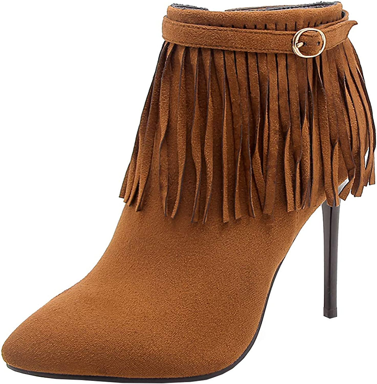 Kikiva Womens Fringe High Heel Stiletto Ankle Boots Pointed Toe Side Zip Booties
