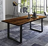 SAM Esszimmertisch 140x80 cm Quintus, echte Baumkante, nussbaumfarben, massiver Esstisch aus Akazienholz, Metallbeine schwarz, Baumkantentisch