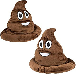The Dreidel Company Emoticon Poop Hat, Dress Up Costume Clothes for Kids, Party Hat Pretend Play, Party Favors (2-Pack) Brown