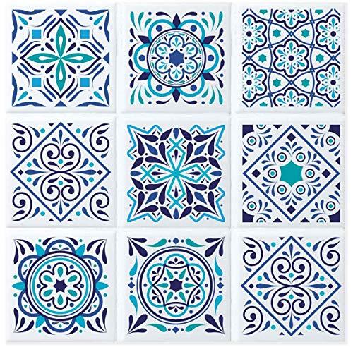9 Fliesen-Aufkleber Santorini I 10 x 10 cm I 9 verschiedene Motive I selbstklebende Klebefolie für Küche Bad WC Kacheln I Mosaik in weiß-blau I Deko-Fliesen Wohntrend farbenfroh I dv_739