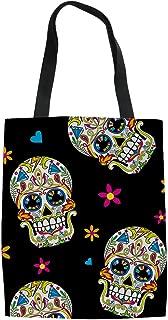 UNICEU Sugar Floral Skull Pattern Women Canvas Tote Bag Ladies Shopping Handbag Purse