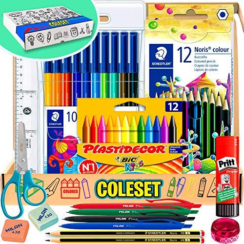 Pack material escolar Kawaii - Pinturas para Niños Rotuladores de Colores Lapices de Colores Niños Ceras Bolis de Colores Utiles Escolares Papeleria Escolar Materiales Escolares Estuche Escolar