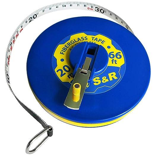 2058 opinioni per S&R Metro a Nastro in Fibra di Vetro 20 M / 66 Ft. Flessometro da Geometra e
