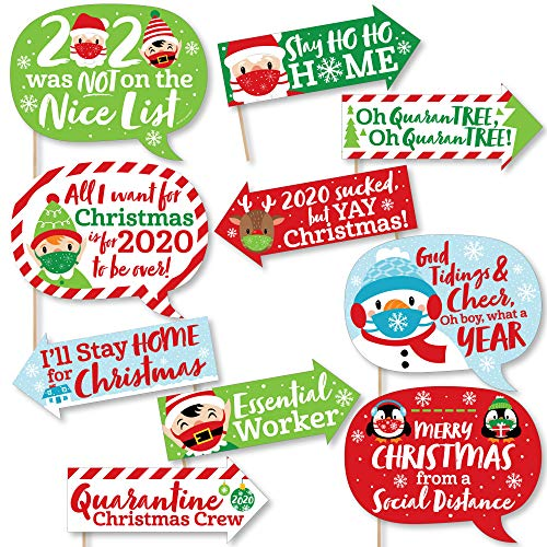 Big Dot of Happiness Funny Merry Christmask - 2020 Quarantine Christmas Party Photo Booth Props Kit - 10 Piece