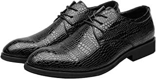 Men's Shoes Stylish and Comfortable Men's PU Leather Shoes Crocodile Skin Texture Upper Lace Up Breathable Business Low Top Lined Oxfords wg (Color : Wine, Size : 39 EU)