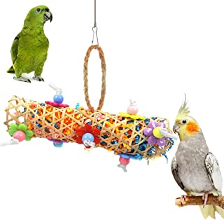 Rubyyouhe8 Bird Accessories&Pet Bird Parrot Bamboo Woven Tunnel Beads Hanging Cage Decor Swing Play Chew Toy - Random Color Colorful Bird Parrot Toys Hanging Toy for Parakeets Cockatiels Small Pet