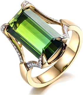 Trend Copper Women Ring Green Gold Color Ring Elegant Crystal Rings for Women Size in 6# to 10#