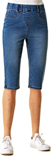 Roman Originals Knee Length Jeggings Cropped Jean Shorts Denim Leggings Capri Pants Stretch Pull On Summer Crops Pedal Pus...