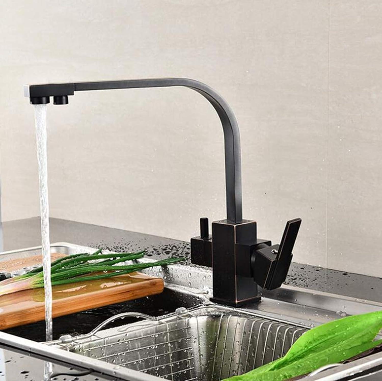 FZHLR 3-Wege-Wasserfilter Luftreiniger Wasser Küchenarmatur Orb Kupfer Mischwasserhahn Zu Hause Küchenarmatur, Schwarz B