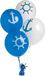 Fun Express Nautical Print Latex Balloons - 24 Pieces
