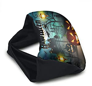 Voyage Travel Pillow Eye Mask 2 in 1 Portable Neck Support Scarf Happy Halloween Ergonomic Naps Rest Pillows Sleeper Versatile Airplanes Car Train Bus Home Office