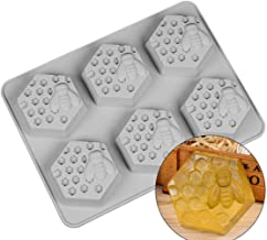 6 Holes Bee Honeycomb Pattern Silicone Fondant Soap Molds, DIY Bakeware Pan Cake Moulds Sweet Cupcake Chocolate Making Mol...