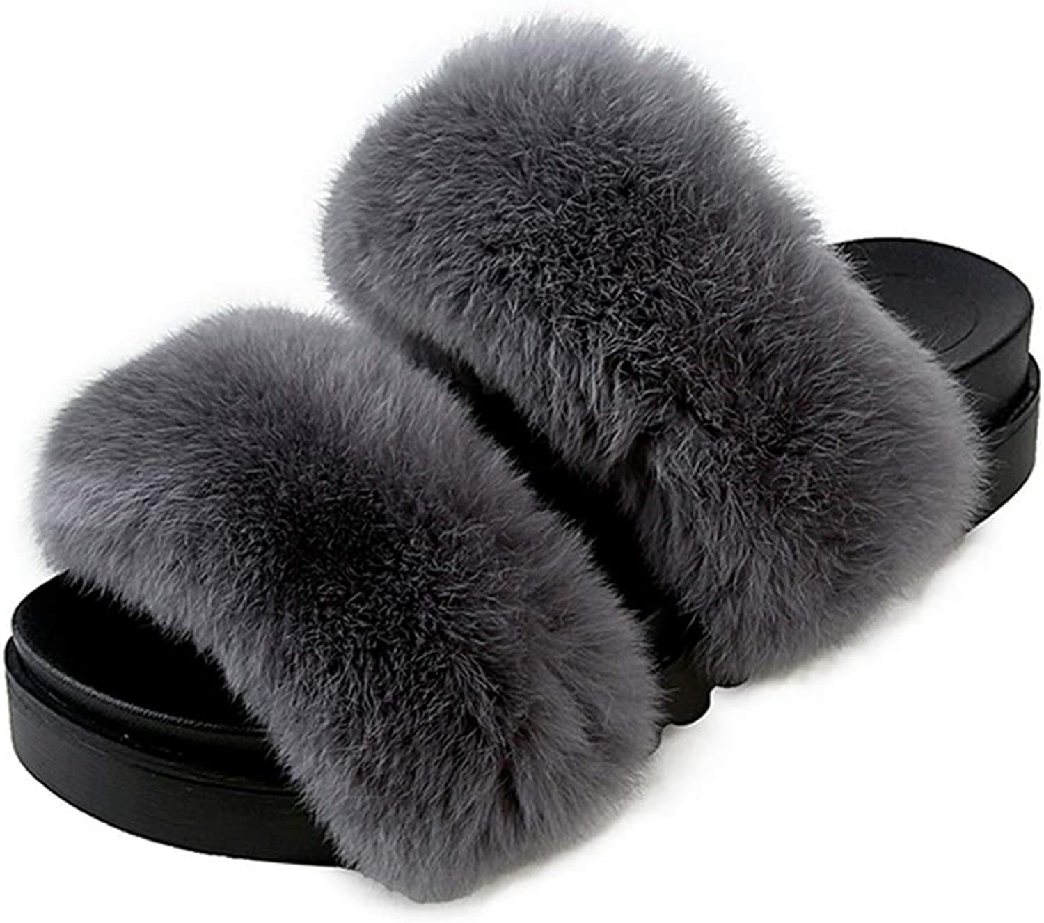 NOMIMAS Winter Warm Fur Women Home Fluffy Slippers Platform Slippers Open Toe Indoor Slipper shoes Woman