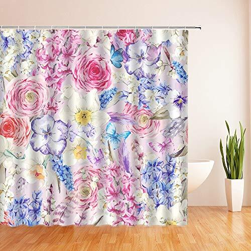 XCBN Cortinas de Ducha de Flores 3D Cortina de baño para decoración del hogar Cortina de Pantalla de baño de Tela de poliéster Impermeable con 12 Ganchos A11 90x180cm