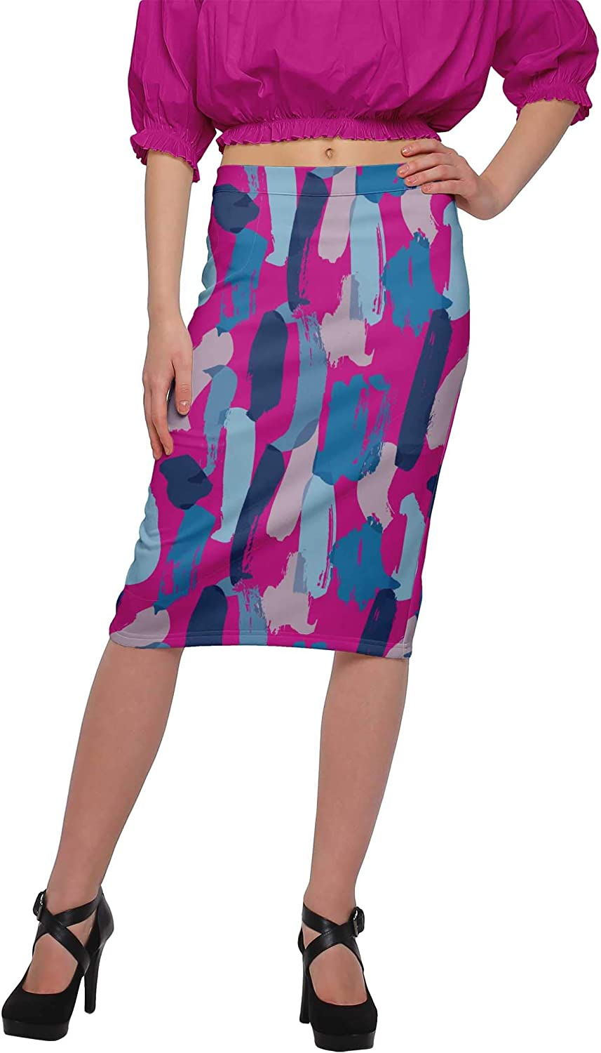 Moomaya Skirts for Women Knee Length Poly Spandex Casual Wear Summer Clothing