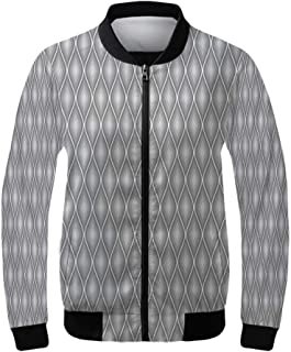 Grey and Yellow Women's Lightweight Jacket,Geometric Retro 60s 70s Home Inspired Rounds Squares Image for Sports,XS