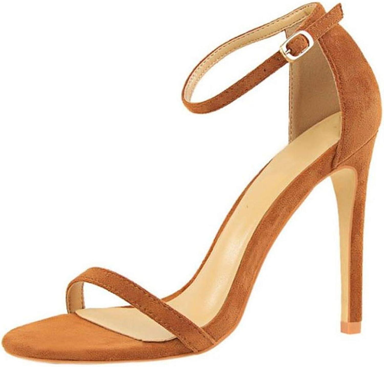 Houfeoans Women Thin High Heel Sandals Buckle Sexy Fashion Summer shoes Women Party Footwear Size 34-40